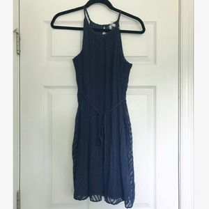 Navy Chiffon Summer Dress (NWT)